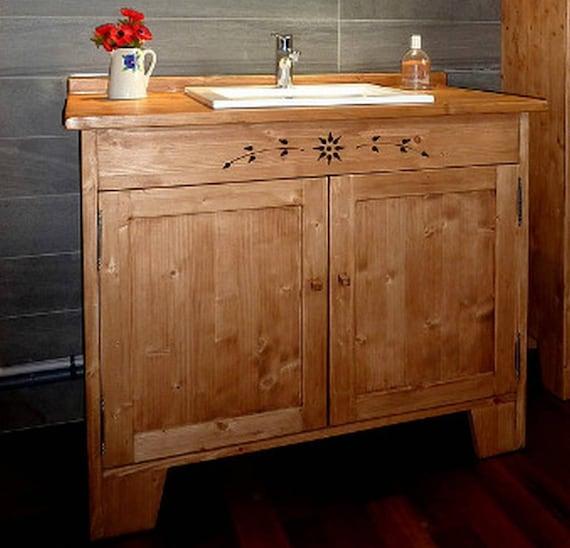 Meuble salle de bains sous vasque artisanal sur mesure en bois for Meuble sous vasque sur mesure
