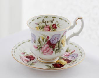 """Royal Albert's """"Flower of the Month-April- or Sweet Peas"""" teacup and saucer, Montrose-shape (small size), c1970s"""