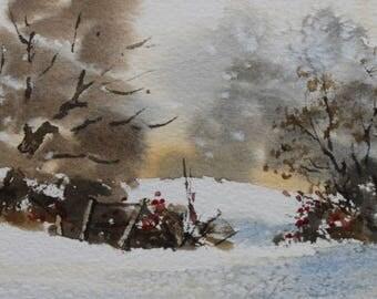 Mounted greetings card, original, Snowfall (2)