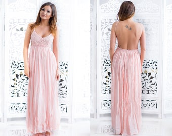 Lace long dress peach