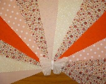 "3m Gorgeous Peach, Cream & Orange ""Natasha"" Fabric Wedding Bunting"