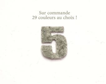 """Number """"5"""" in felt - 29 color choices - 2.4 cm x 2.5 cm"""