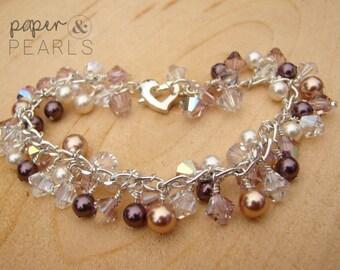Swarovski Pearl Cluster Bracelet in Burgundy and Rose Gold