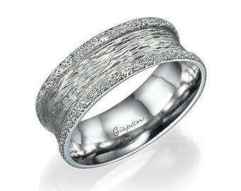 White Gold Wedding Ring, Unique Wedding Band, Glitter Ring, Band Ring, Bridal Ring, Wedding jewelry, Promise Ring, 14k Gold Ring