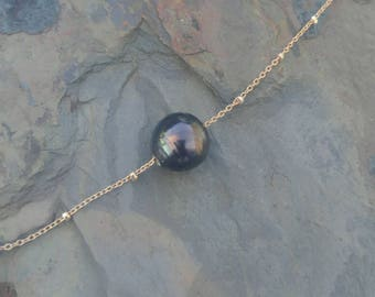 Aubergine Floating Tahitian Pearl Necklace
