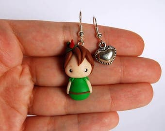 OUTLET! Sale! Peter Pan earrings polymer clay + Heart