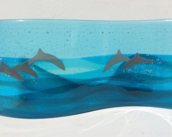 fused glass curved panel DOLPHINS
