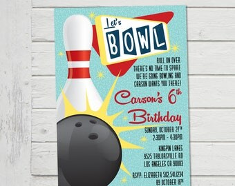 Bowling Invitation Ten Pin Bowling Invite Children's Ten Pin Party Strike Birthday Party 50's Vintage Retro Style Digital File