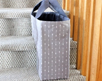 Storage Tote, Stair Basket, The Stair Duffel™, Large Tote, Storage Bin, Grey Tote, Fabric Basket, Grey Storage Basket, Laundry Tote