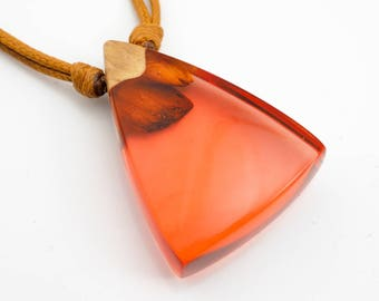 Light Red Resin and Wood Pendant; Wood and Resin Jewelry, Wood and Resin Pendant, Resin Jewelry