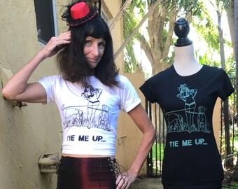 "Pin Up Walking Pit Bull & Greyhound T-Shirt By Maria B. Hand Drawn Screen Print ""TIE ME UP"" Dog Rescue T-Shirt."