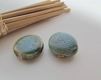 2 ceramic beads, Bead 20 x 8 mm, Pearl Blue ceramic - hole 1.5 mm - 450.7