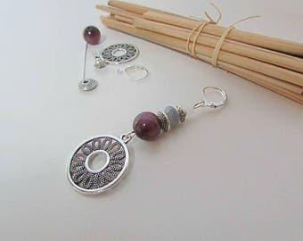 Set in silver metal - 180 - 7 cm - purple cat eye bead charm hook earring