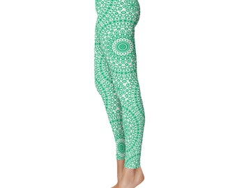 Yoga Clothes for Women - Jade Green Leggings, Mid Rise Workout Pants