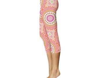 Capris - Colorful Spring Leggings, Bright Patterned Yoga Tights, Pink and Orange Mandala Flower Yoga Pants