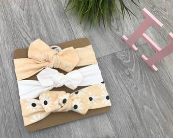 Baby Headband / Newborn Headband / Baby Headbands / Toddler Headband / Infant Headband / Baby Headwrap / Baby Bows / Peach Set