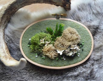 Moss and Bone Oval Embroidery - Rattlesnake Vertebrae
