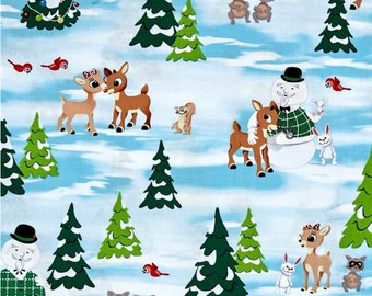 Rudolph the Red Nosed Reindeer Winter Holiday Christmas Scene Fabric, winter, Christmas fabric, holiday fabric, vintage Christmas