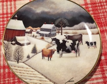 """Limited Edition """"Cows in Winter"""" plate no. HW 4600 by the American Folk Art Collection 1992."""