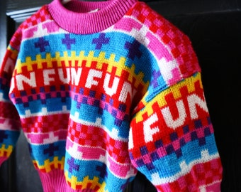 Vintage 1980s Childrens Fun Sweater Toddlers 2T