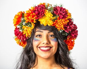 Orange flower headdress - Bespoke MayHem