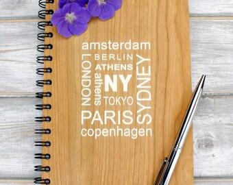 A5 Travel Wooden Note Book, Journal - Cities Design
