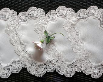 "19"" x 13"" Rose Lace Place Mats Doilies Retangular Set of Four Placemats Dreser Scarf"