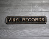 Vinyl Records | Retro Style Carved Wooden Sign for Record Collectors and Record Collection | Music Store