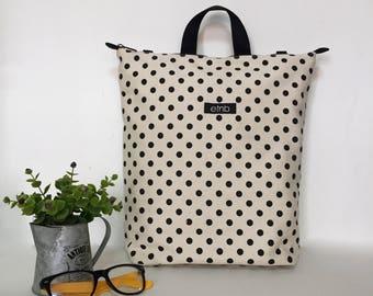 Convertible bag Convertible backpack Striped bag Minimal bag Canvas bag Canvas backpack Shoulder bag Minimalist print Polka dot bag - Kyle