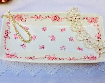 Utterly Adorable Pretty Pink Ribbons and Bows Vintage Tray