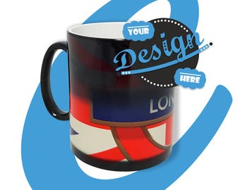Unique Colour Changing Mug. Add any picture, text, logo or design and simply add hot water! Perfect as a gift or as promo.