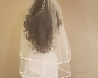 White Ribbon Edge Wedding Veil