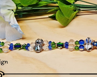 Seahawk blue and green crystal watch band with face included