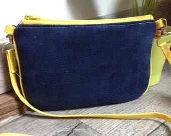 "The Pocket Moon, my little ""Yellow & Blue"" suede handbag"
