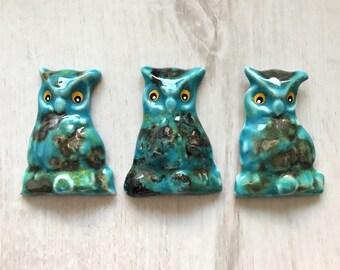 3 turquoise owl ceramic magnet