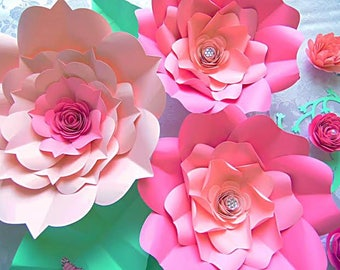 Large backdrop paper flowers diy giant flower templates for Easy paper cutting flowers