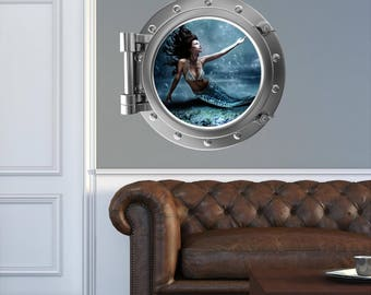 Mermaid Wall Decal - Porthole Wall Decals - Faux Window - Mermaid Vinyl Decals - Port Scape Faux Window - Mermaid 2