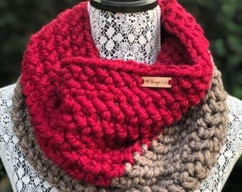 Cowl Infinity Scarf // Red+Taupe // Two Tone Handmade Crochet Chunky Knit - READY TO SHIP