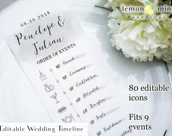 Gray watercolor timeline card, printable wedding timeline card, editable wedding timeline with icons, customizable wedding day timeline card