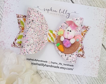 Easter bunny bow, glitter bow