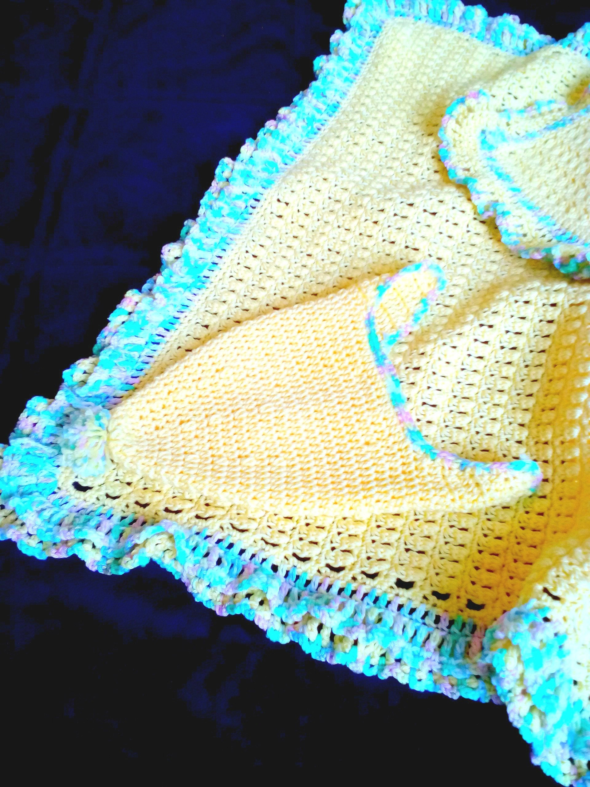 gelbe baumwolle baby decke h keln r schen afghan. Black Bedroom Furniture Sets. Home Design Ideas