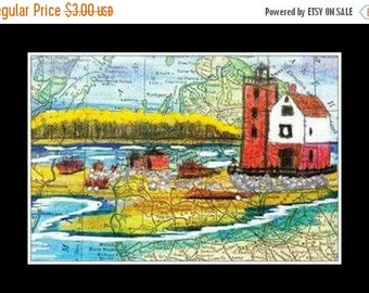 SALE POSTCARD Vintage Michigan MAP Round Island Lighthouse Seascape Light House Sea Coastal Nautical Art Print Scott D Van Osdol 4x6 Of Orig