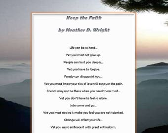 Keep the Faith - Printable Poetry Instant Download