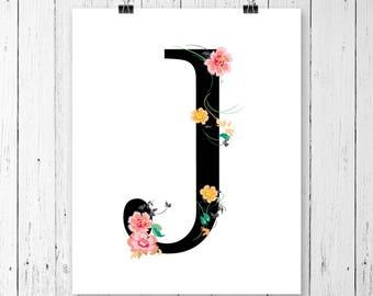Personalized Floral Initial Print   Custom Monogram   Floral Monogram   Gallery Wall   Printable PDF   002