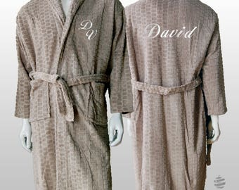 Personalized Jacquard Polar Robe Ref. Hive - Beige