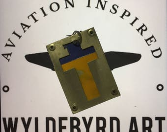 Aluminum luggage tag. Former Southwest Airlines Boeing 737 Fuselage cross