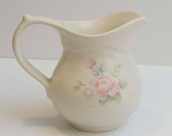 Vintage Discontinued Retired Pfaltzgraff Tea Rose Pattern Creamer Syrup Stoneware Pitcher