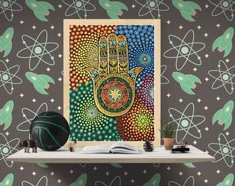 hamsa hand, hamsa, hamsa wall art, hand of hamsa, mandala, mandala art, yoga wall art, meditation art, hamsa wall hanging, hamsa wall decor