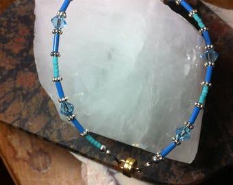 5, Bracelet, Anklet, Blue Swarovski Crystals, Seed beads