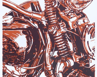 Panhead, classic motorcycle, detail Tech02